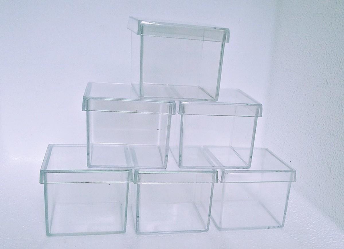 Caixa Acrílica com Tampa Cristal 5cm x 5cm com 10 unidades