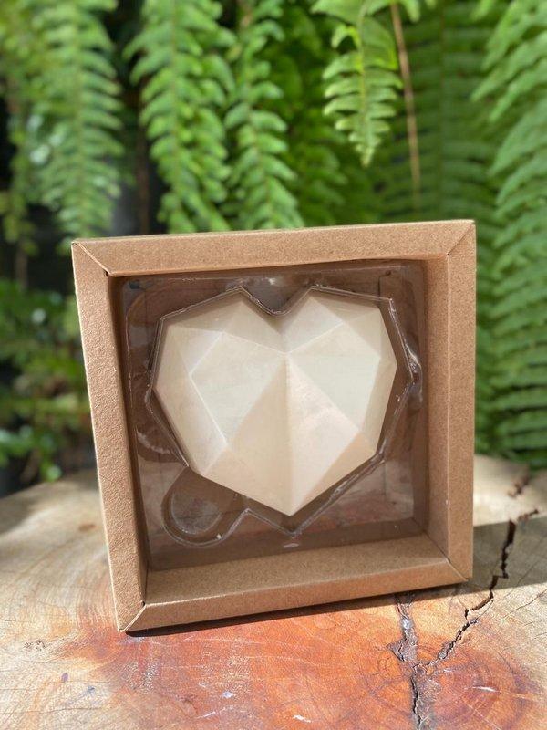 Caixa Coração Lapidado 200gr- 1 Cavidade Kraft - 05 unidades - Crystal