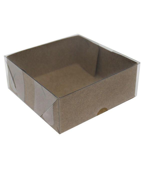 Caixa quadrada 10x10 tampa acetato kraft - 10 unidades