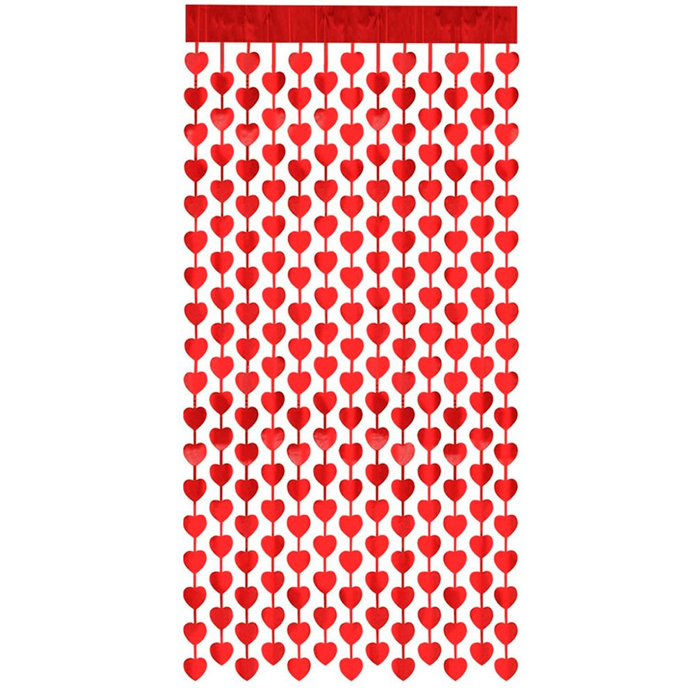 Cortina Metalizada coração 2mx1m