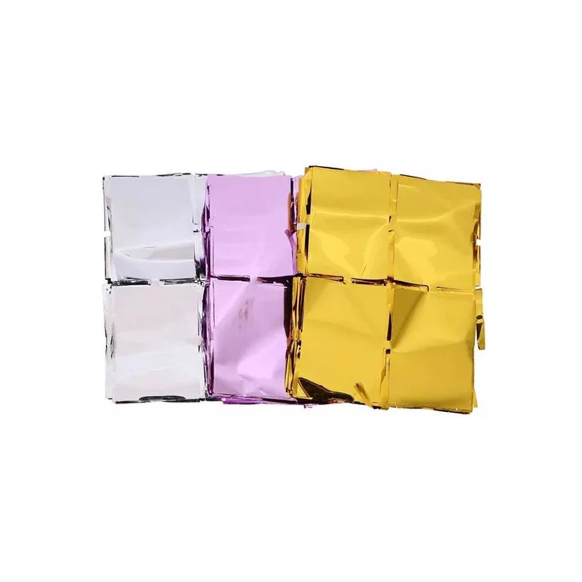Cortina Metalizada Quadradinho Shimmer Wall Decoração Festa