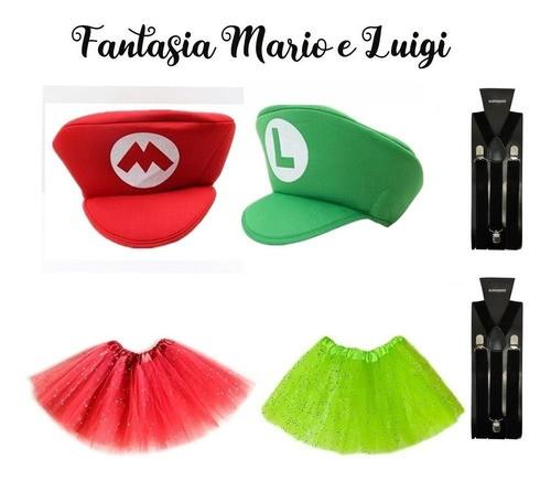 Fantasia Luigi + fantasia mario feminino adulto