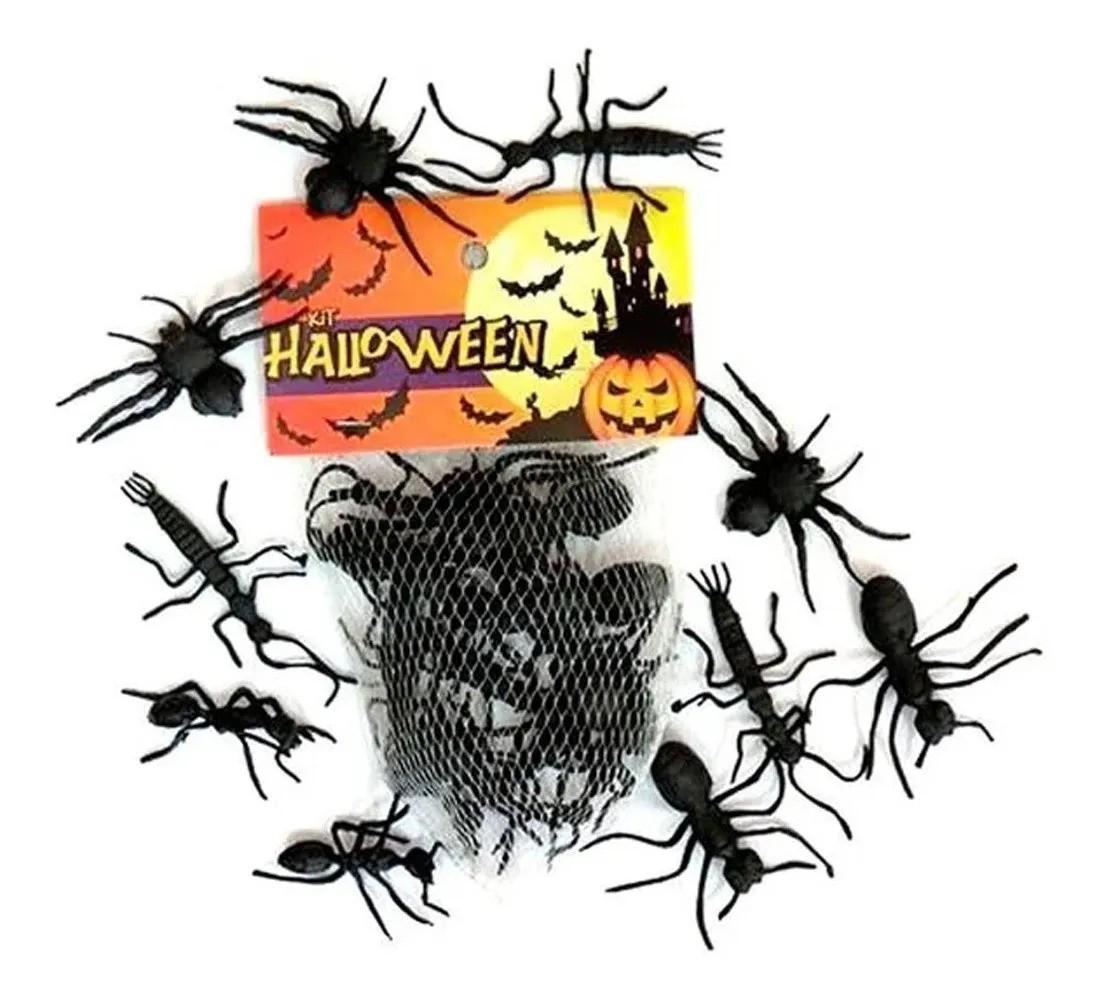 Kit Animais Borracha Inseto Aranha Halloween Decoração - 12 unidades