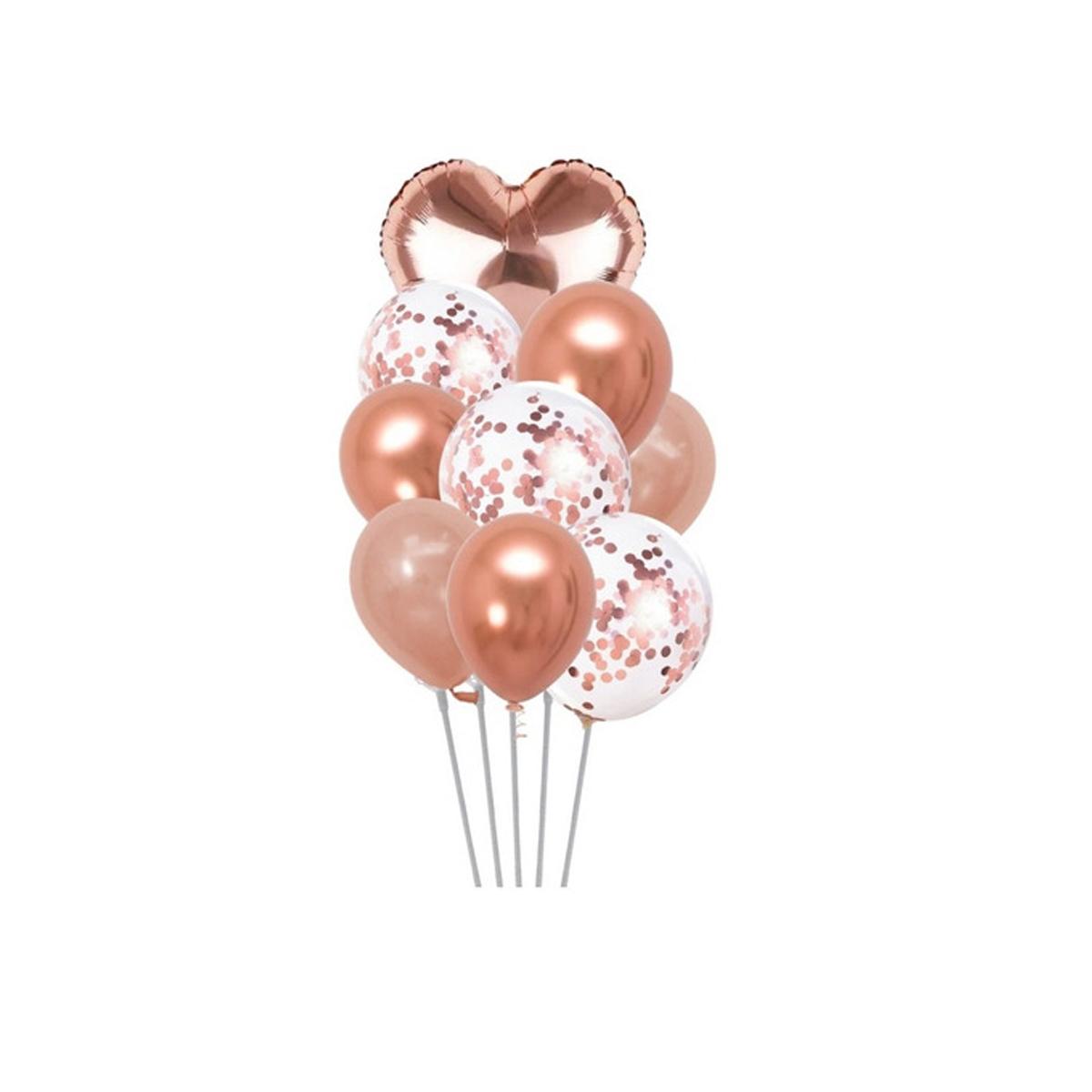 Kit Buque Balão Metalizado Látex Confete Coração C/9