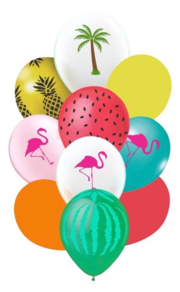 Kit Buquê tropical flamingo abacaxi frutas 10 Unidades Balão Bexiga