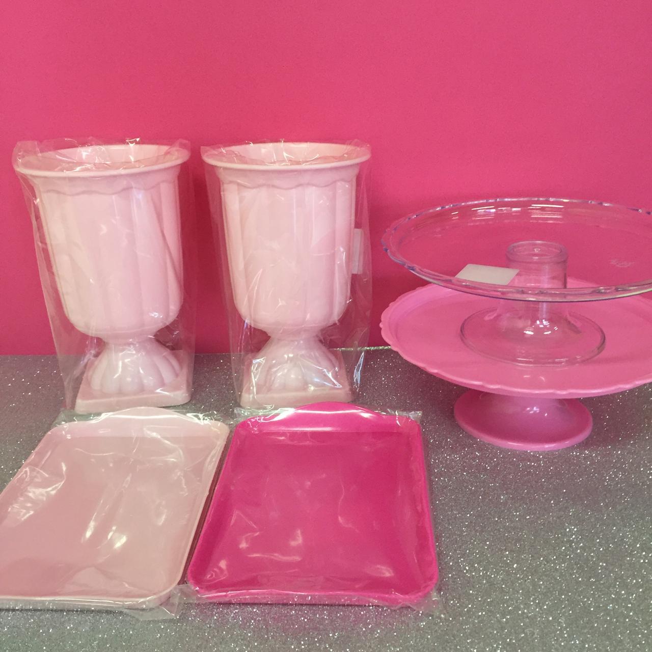 kit decoração de mesa - Boleira + Bandeja + Vaso grego - 2 de cada