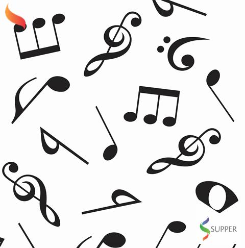 Tnt Estampado Notas Musicais 1,4m X 5m