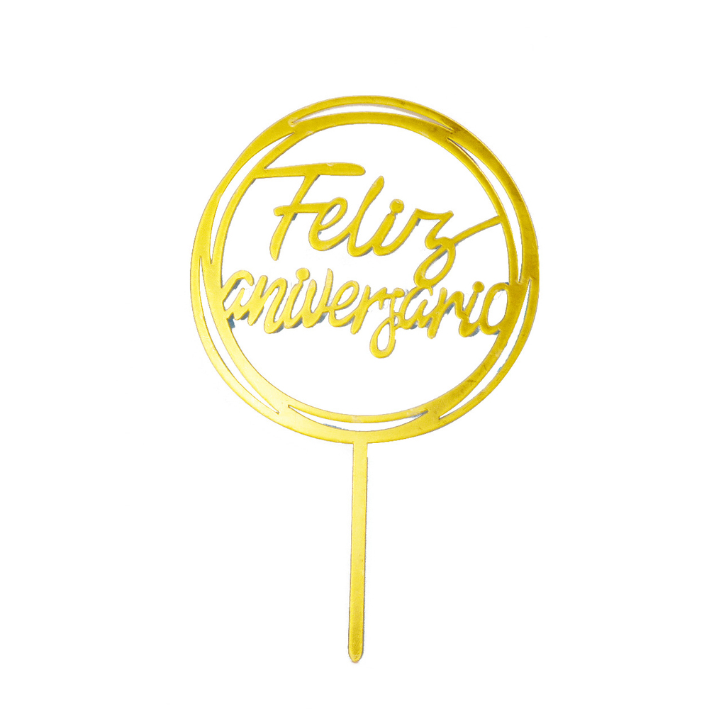 40 Topo De Bolo De Acrílico feliz aniversario