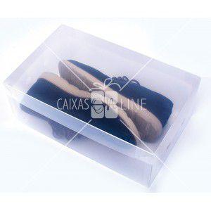 Caixa Organizadora Transparente Liso para Sapato e Tênis Masculino