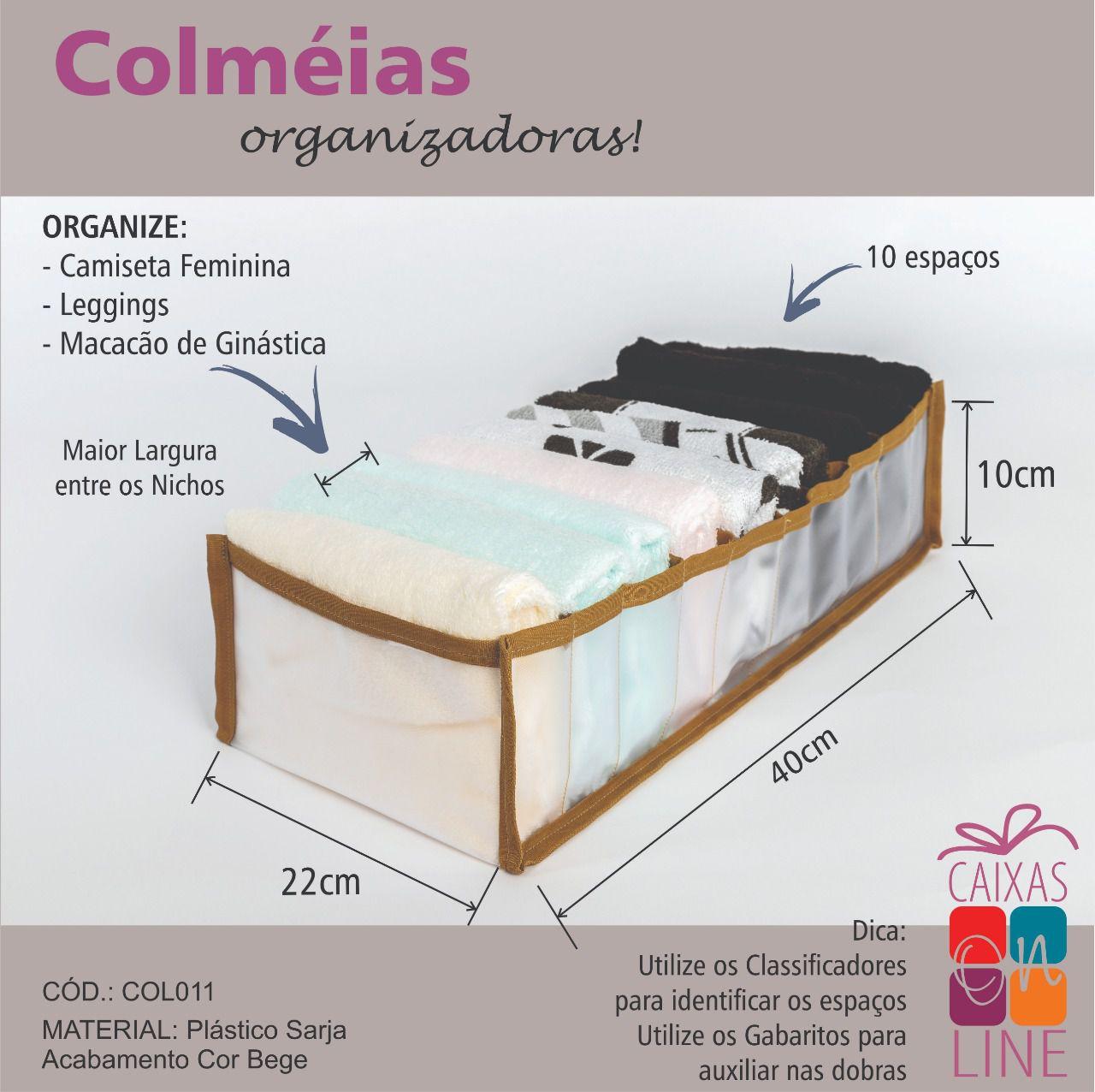 Colmeia Organizadora – Camiseta Feminina/ Legging/ Macacão Ginástica (BEGE)