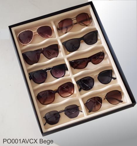 Porta Óculos Aveludado BEGE (10 NICHOS)