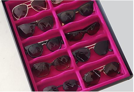 Porta Óculos Aveludado PINK (10 NICHOS)