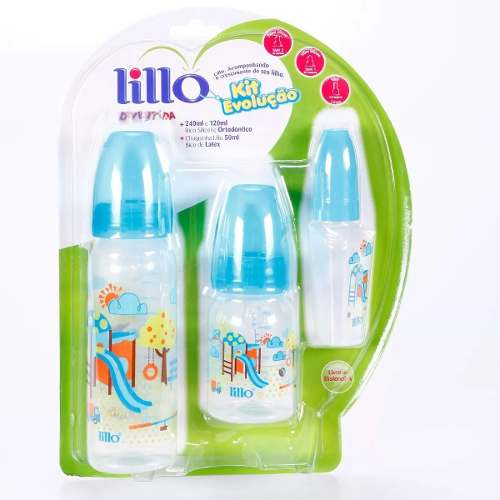 Kit Mamadeira Divertida Lillo 260ml Bico Silicone