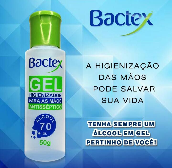 ÁLCOOL GEL BACTEX 50G PACOTE C/12