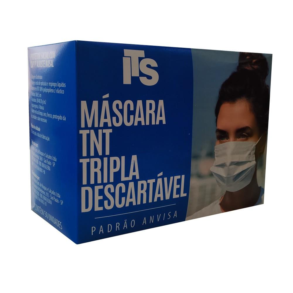 ITS MASCARA TNT TRIPLA DESCARTAVEL COM ELASTICO PACOTE 50 UN
