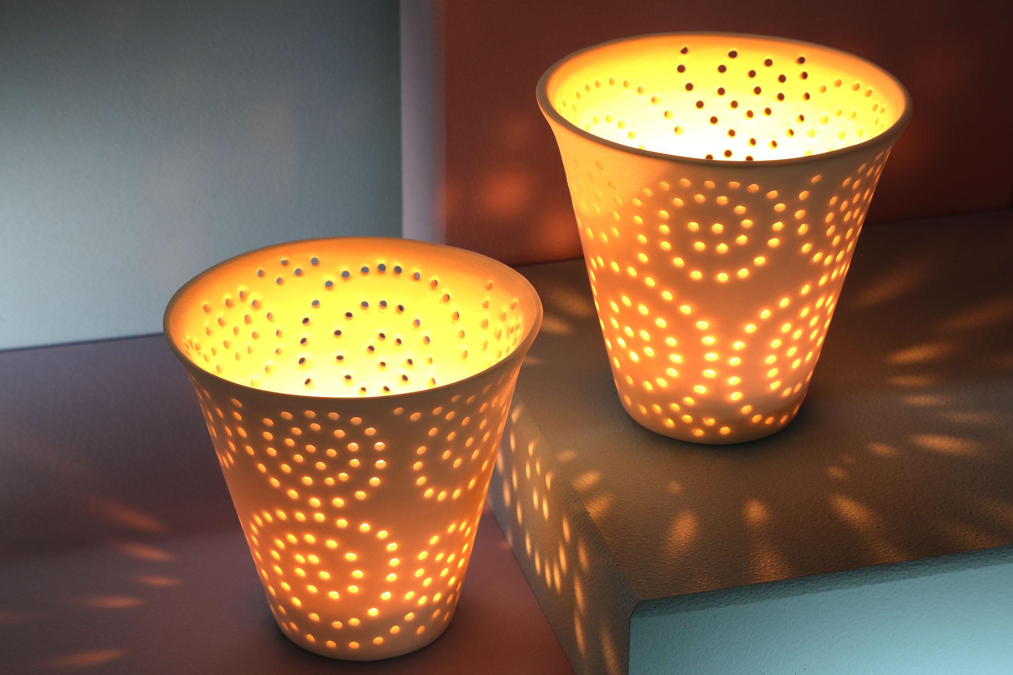 01 par de  Lanterna em cerâmica