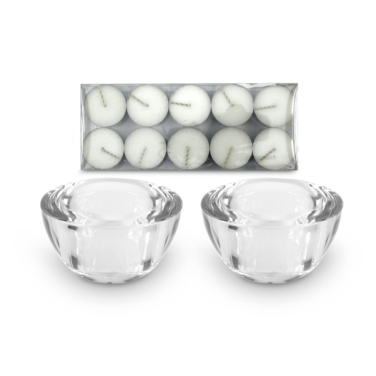 01 Par de Porta velas em vidro transparente (10 lamparinas incluso)
