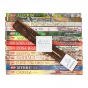 25 caixas com 8 varetas do incenso HEM ( 13 aromas) com brinde