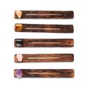 Porta incenso de madeira com pedra natural