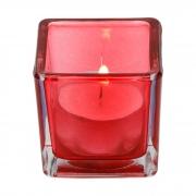 Porta velas quadrado  de mesa em vidro vermelho (M )