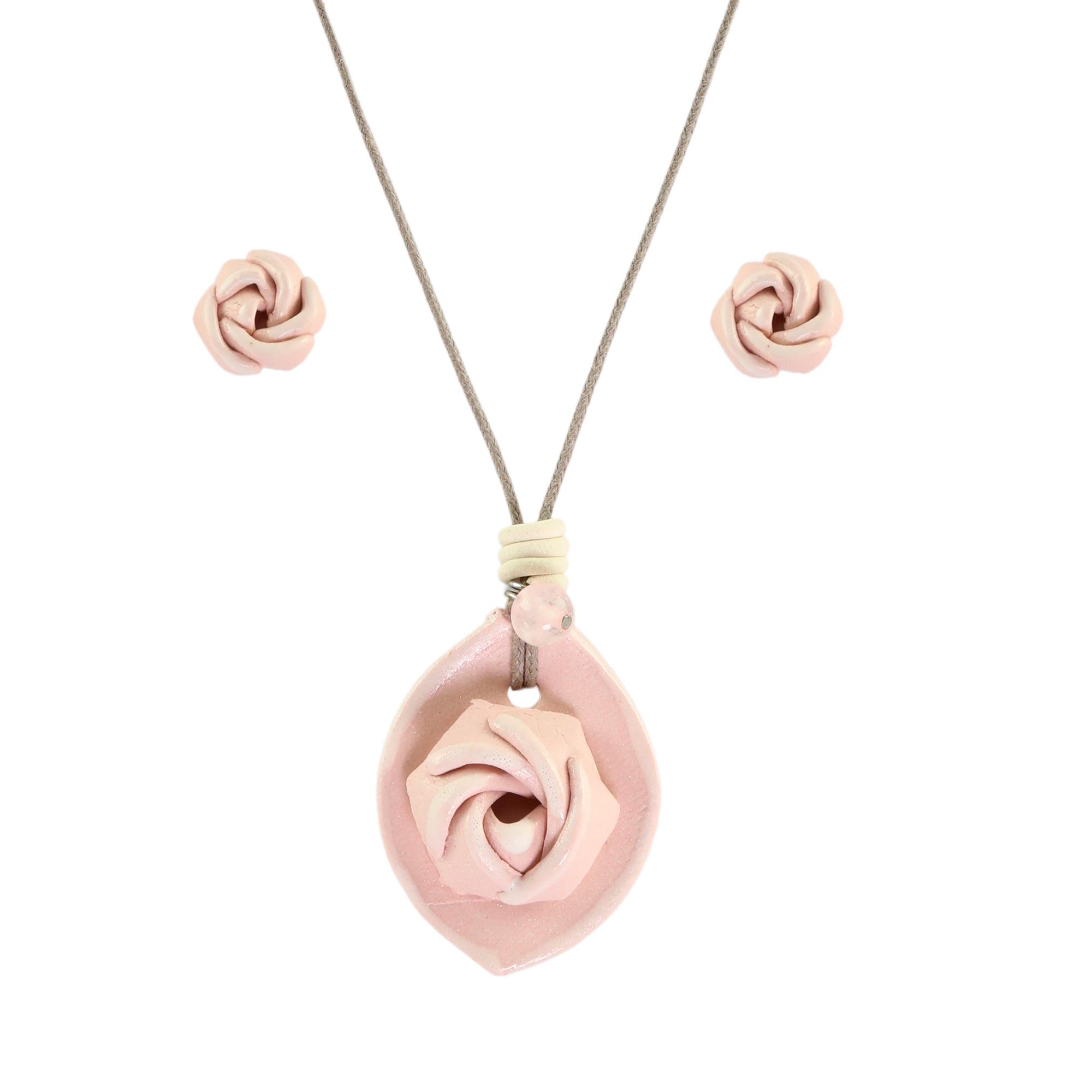 Colar aromático Rosa-Damascena com par de brincos