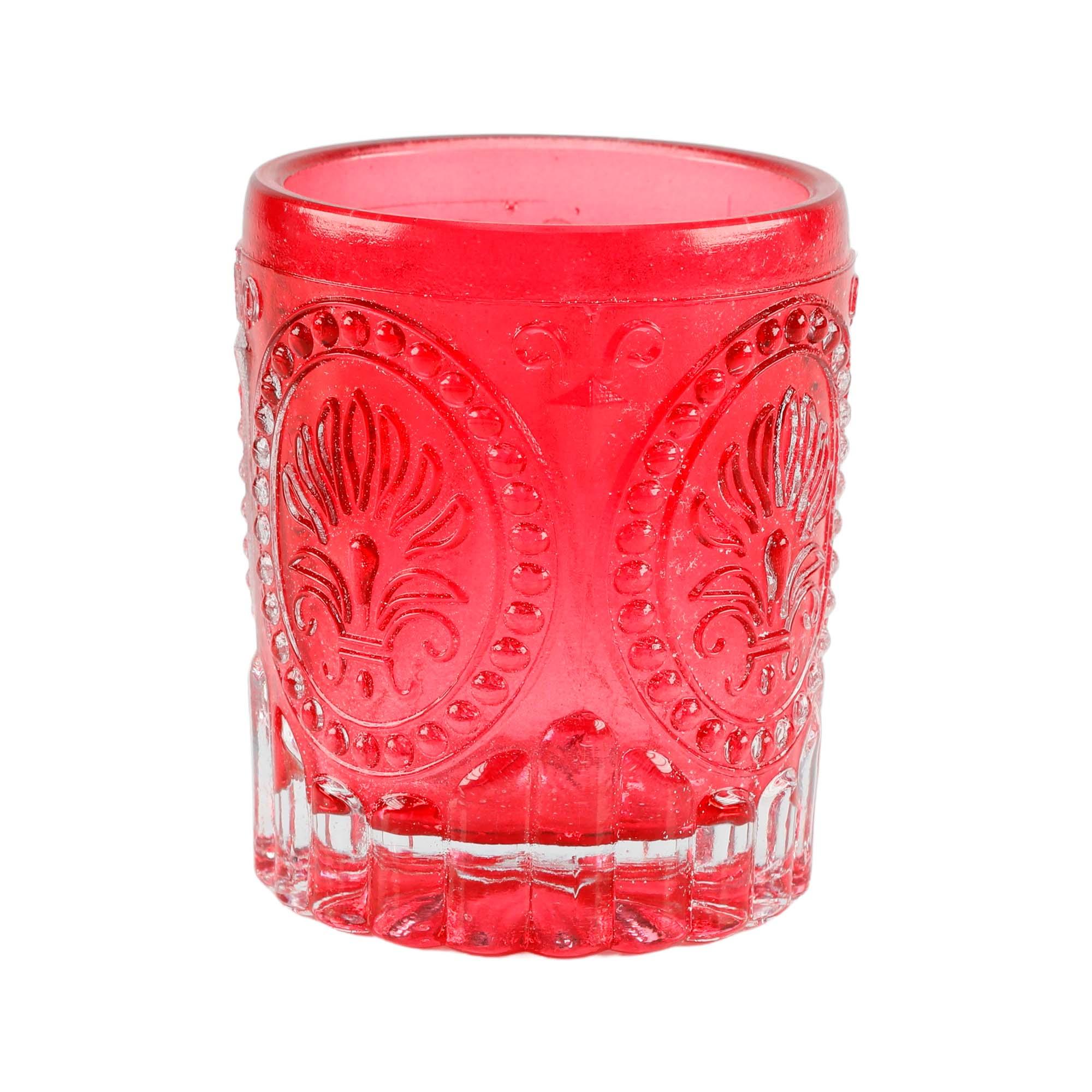 Copo decorativo porta velas vermelho