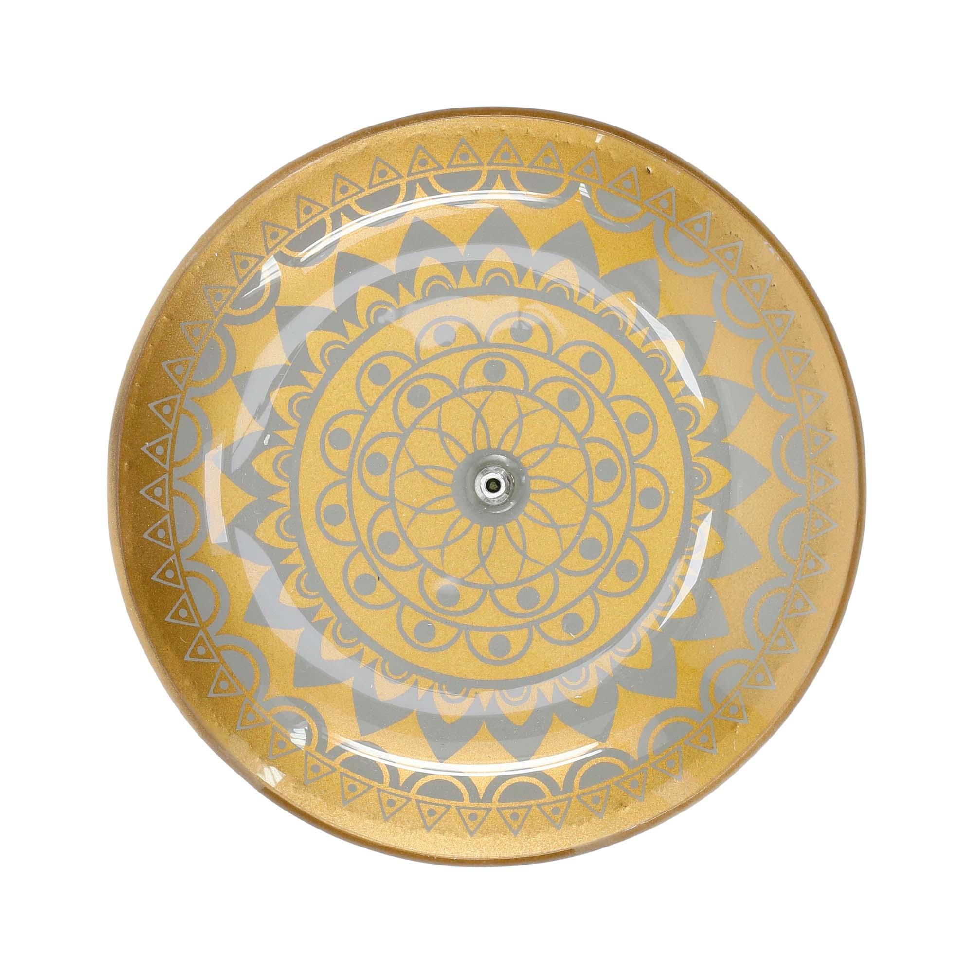 Incensário circular de vidro decorado