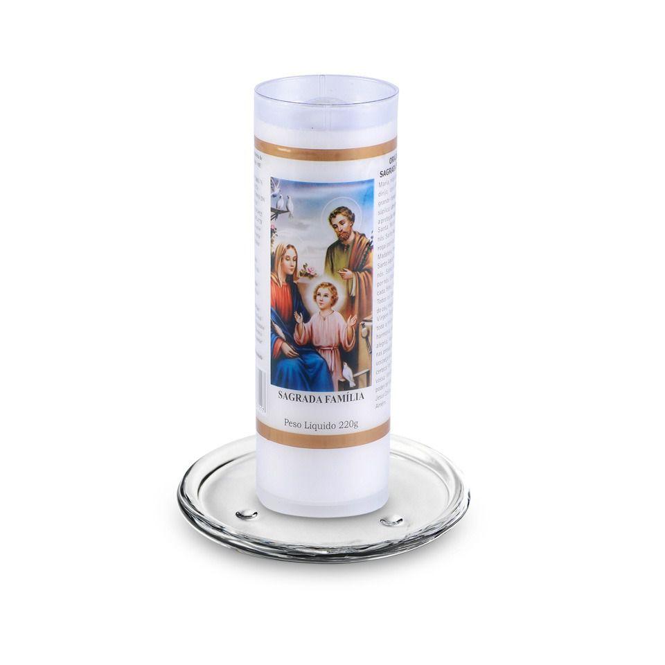 Kit Vela votiva Sagrada Família  ( 7 dias) + base de vidro