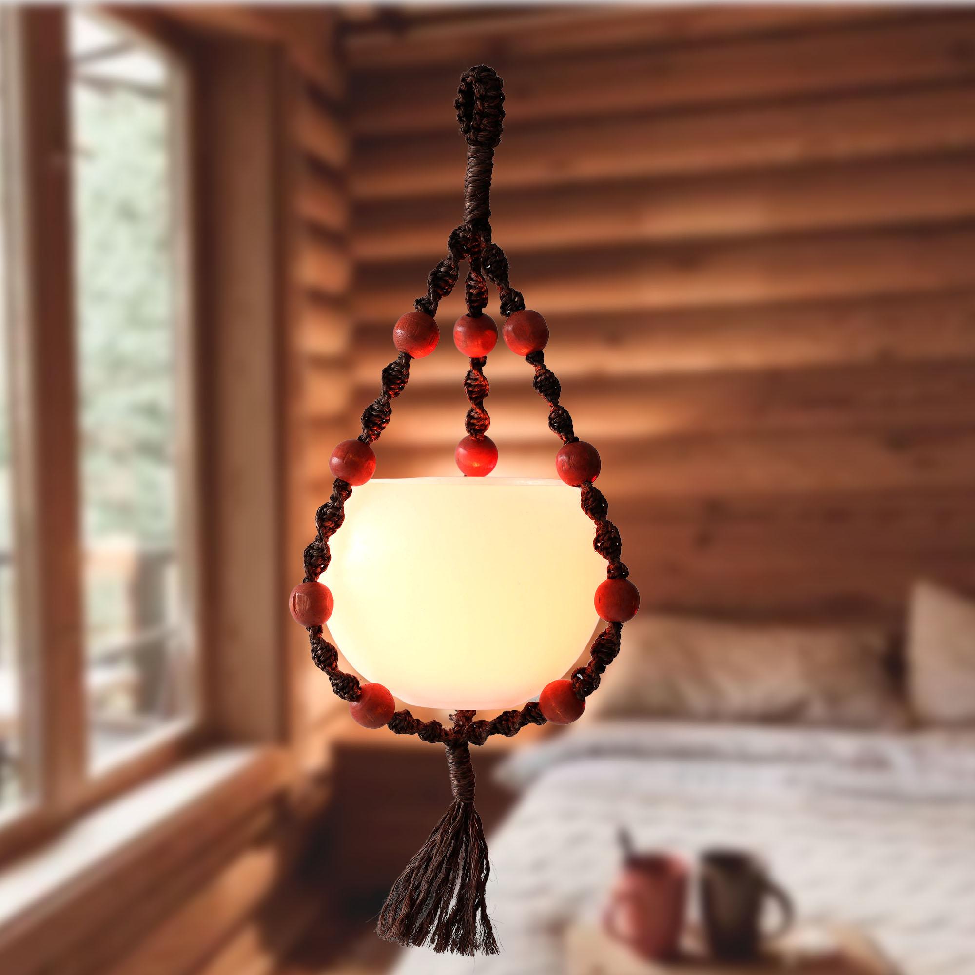 """Luminária """"bola""""  com  suporte de sisal"""