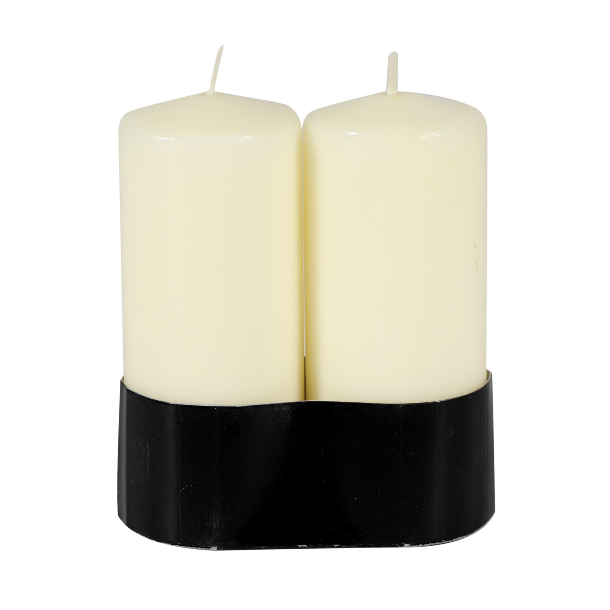 Par de velas cilíndricas marfim