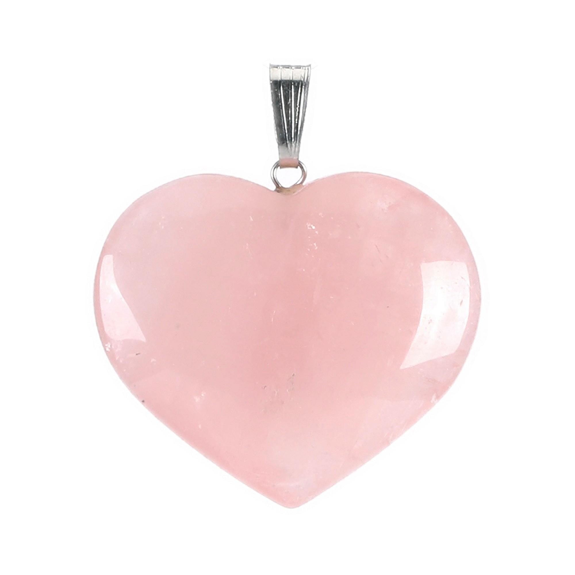 Pingente coração de Quartzo Rosa