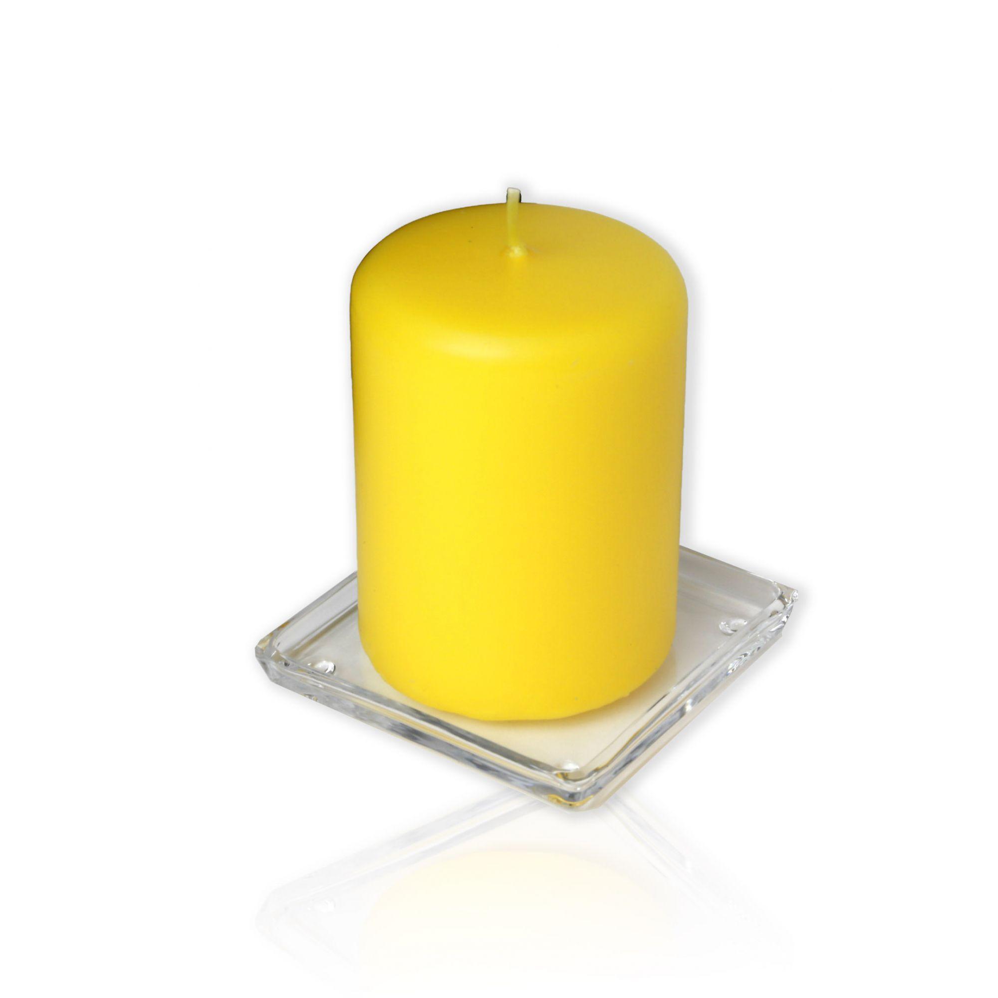 Base quadrada de vidro para velas