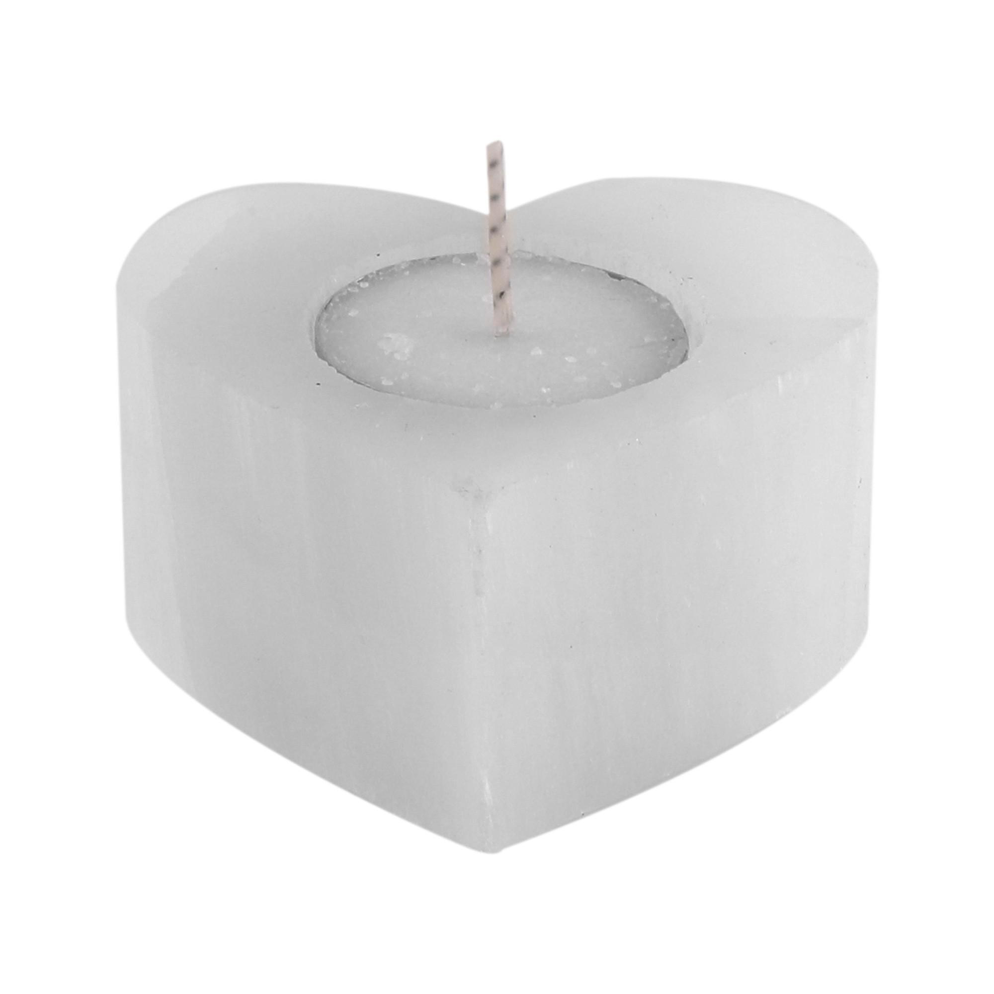 """Porta velas """"Coração"""" esculpidos  em Selenita laranja ou branca"""