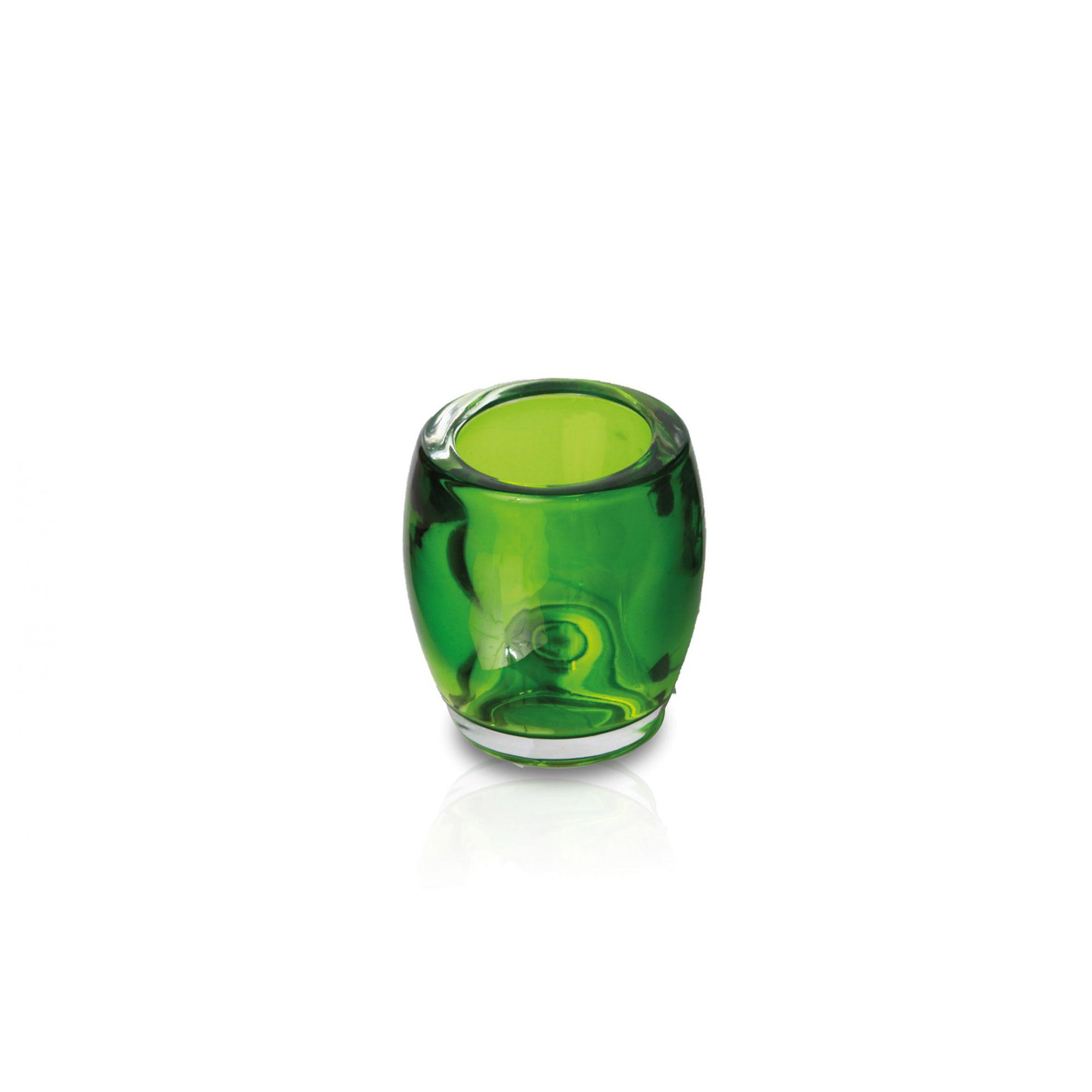 Porta velas em vidro verde