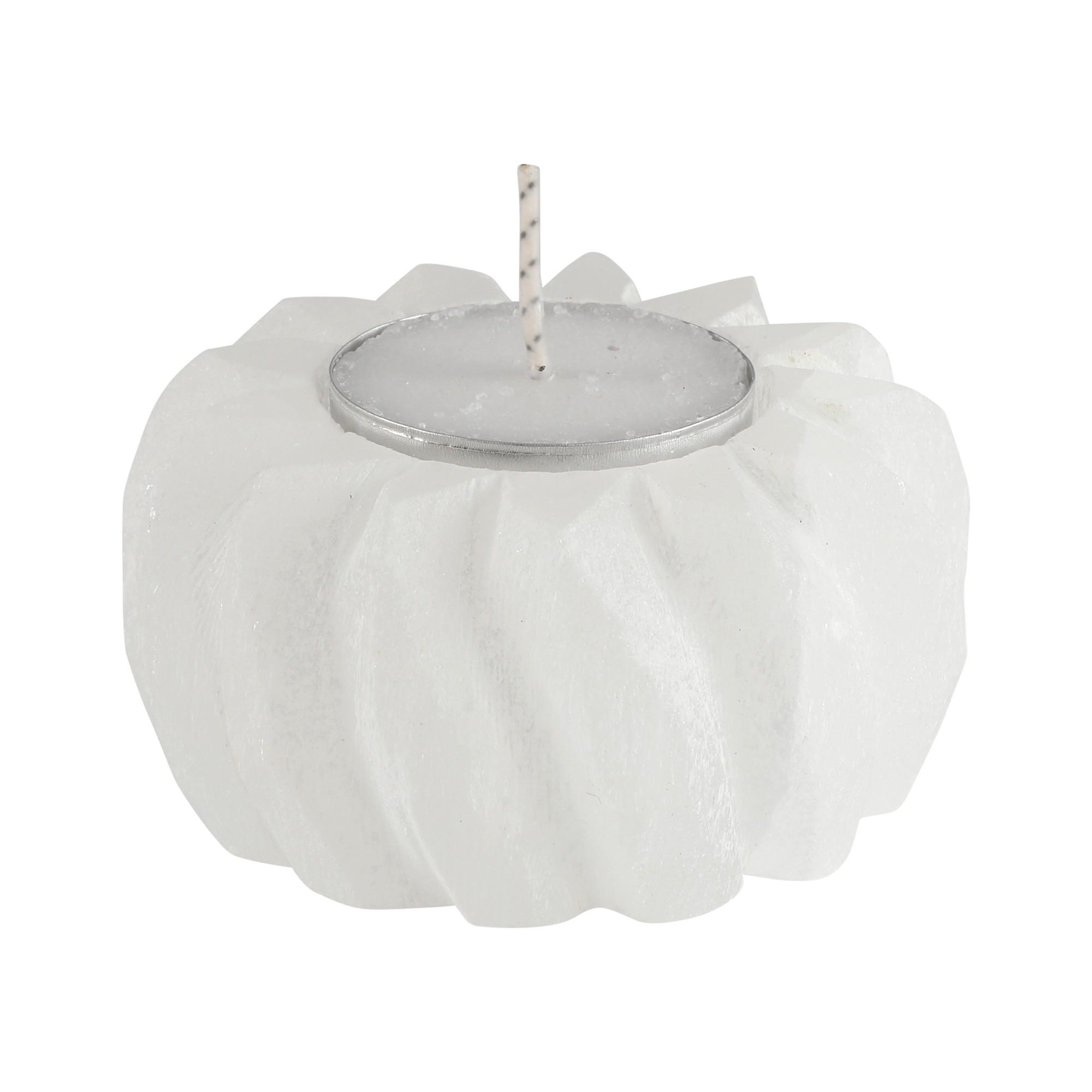 Porta velas  esculpido  em Selenita