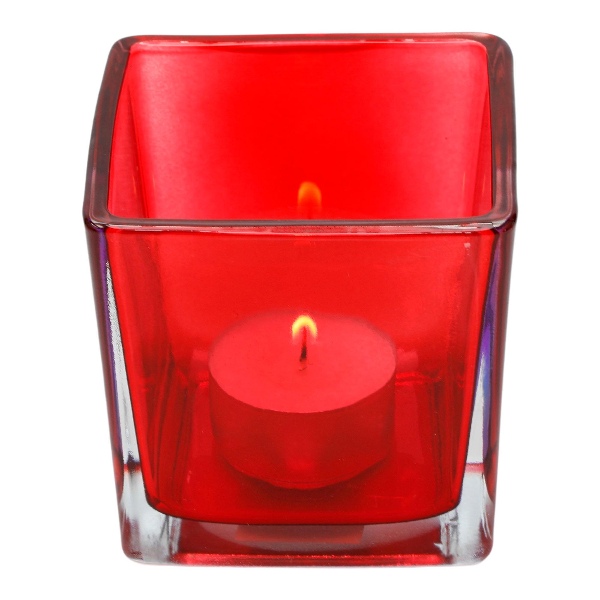 Porta velas quadrado  de mesa em vidro vermelho ( G )