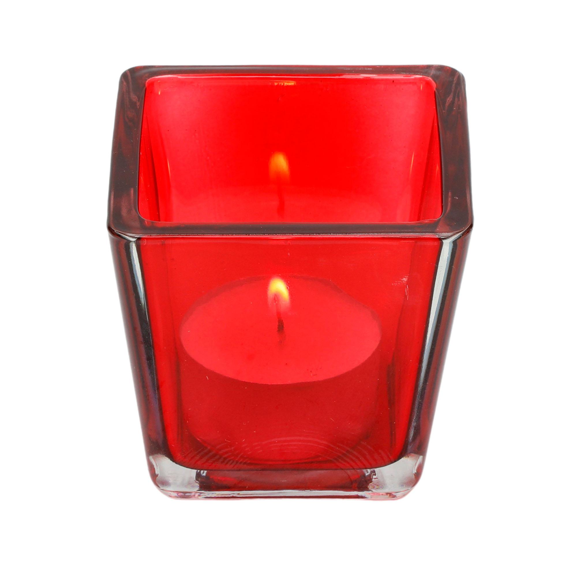 Porta velas quadrado  de mesa em vidro vermelho ( P )