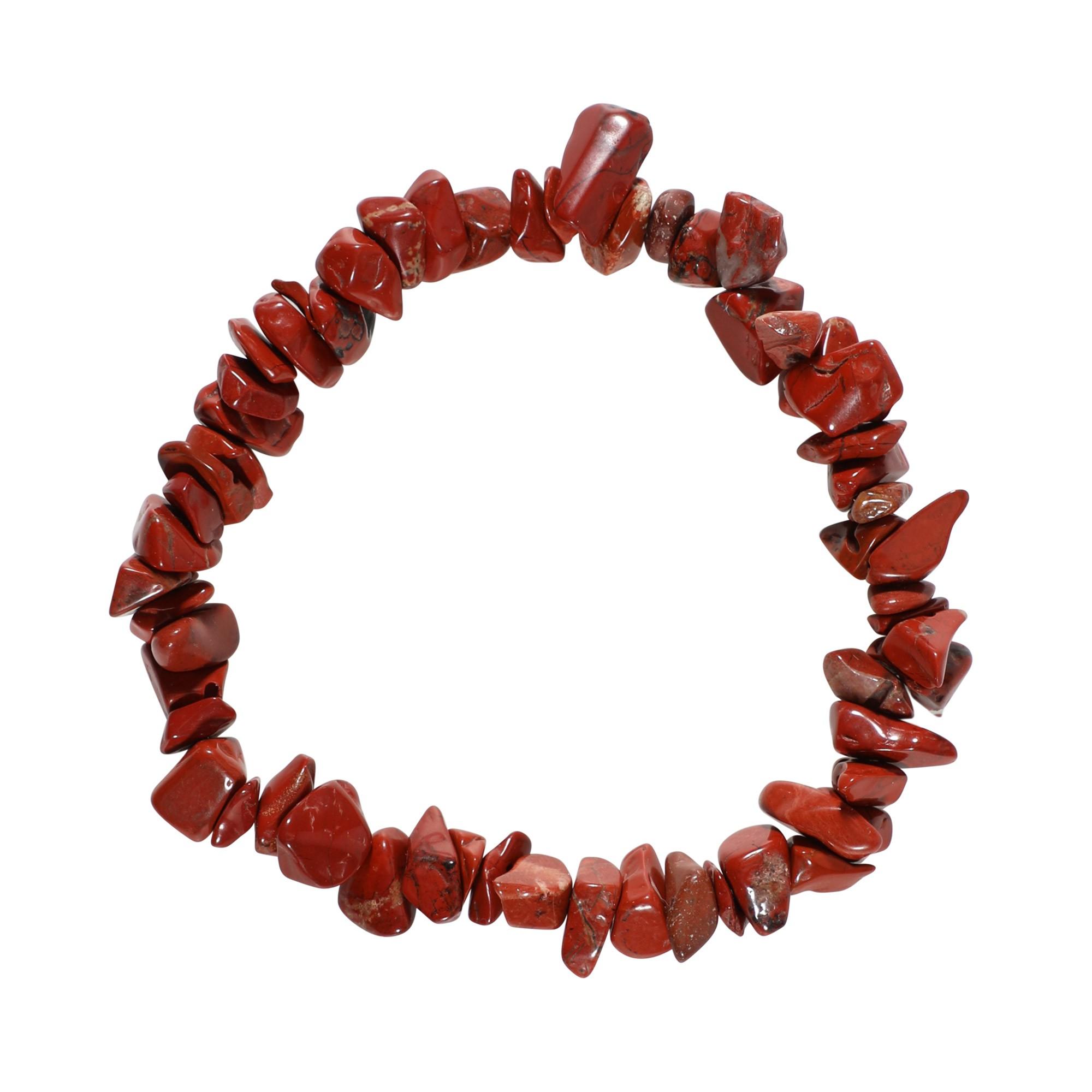 Pulseira de cascalho em Jaspe vermelho