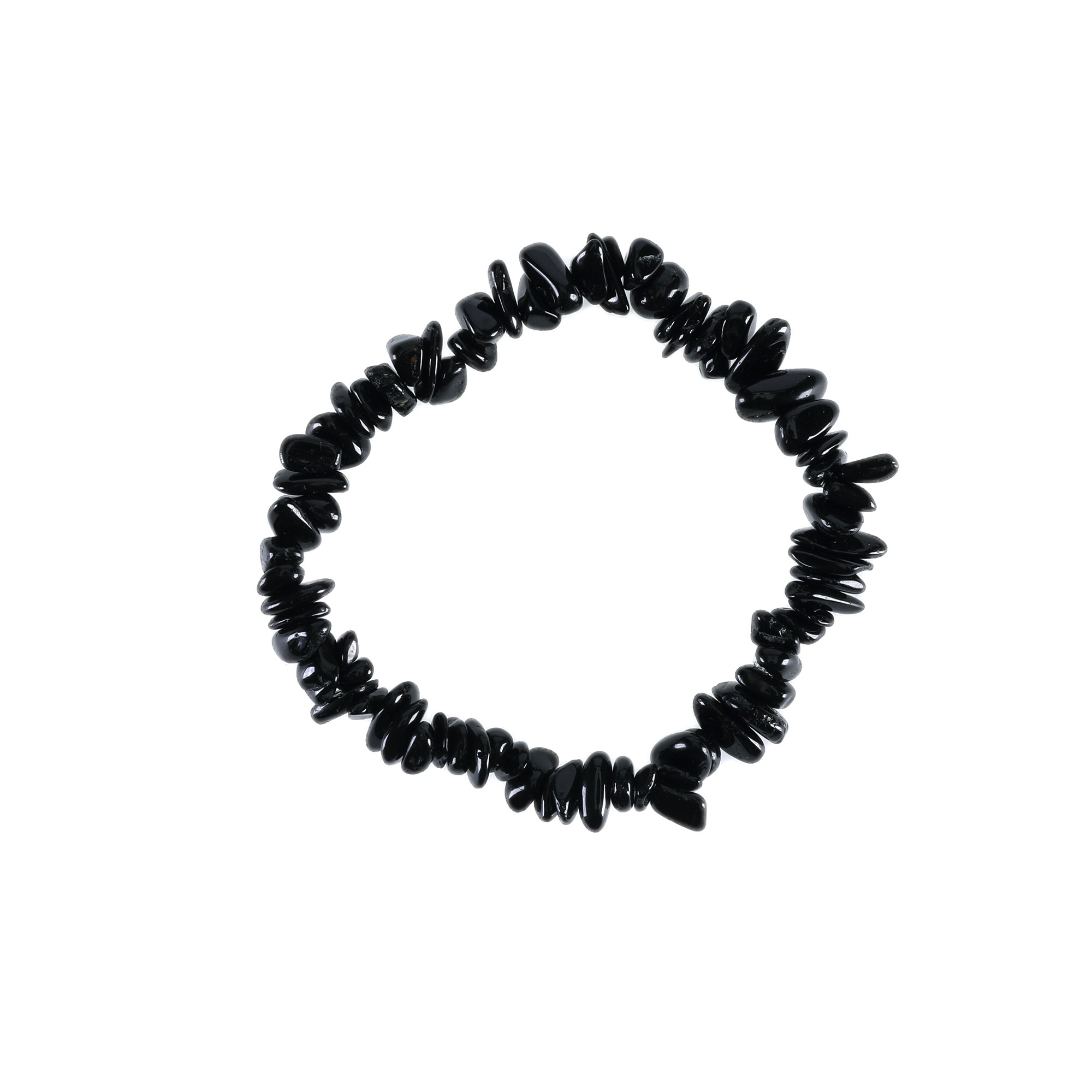 Pulseira de cascalho em obsidiana negra