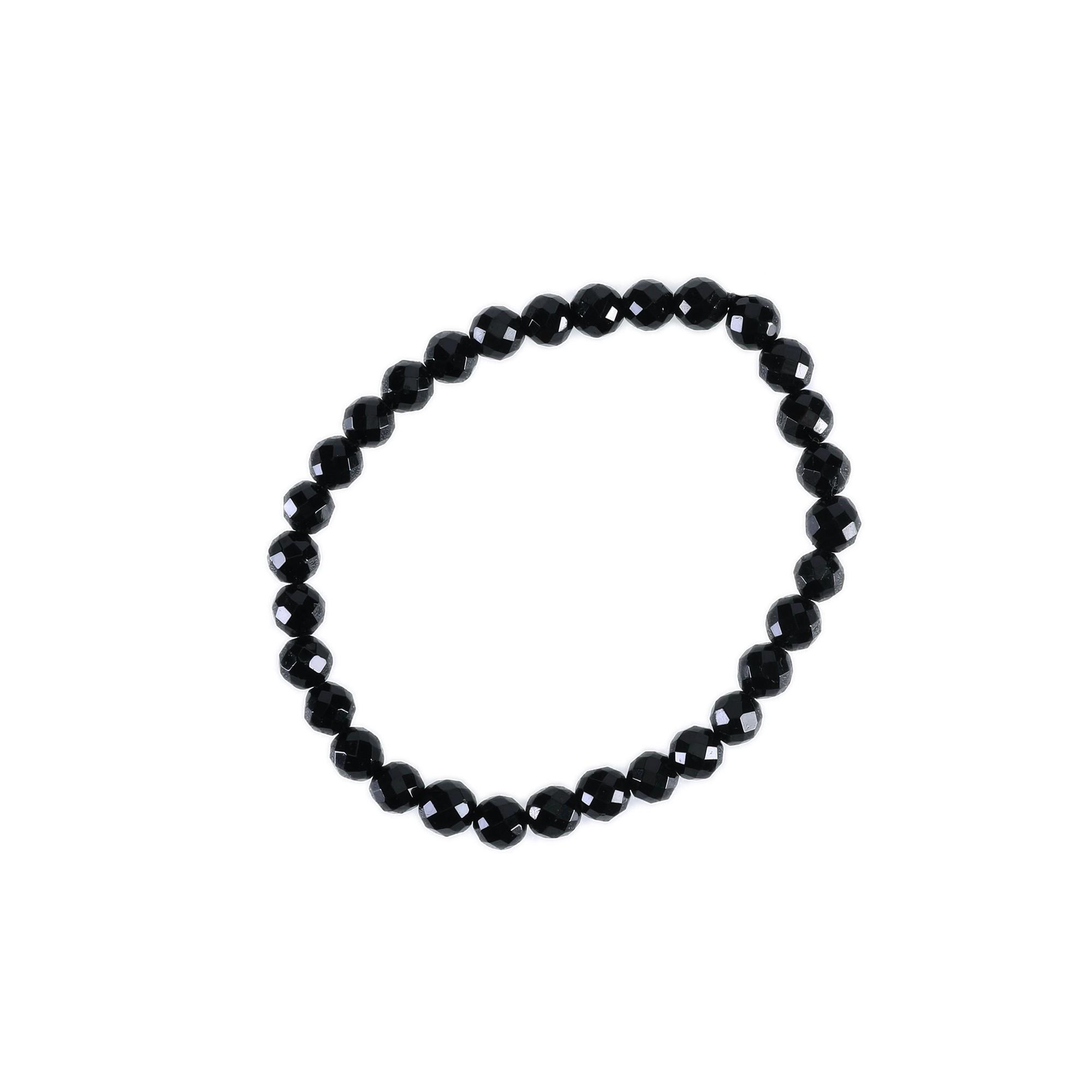Pulseira esfera facetada Turmalina Negra ( 0,4 cm)