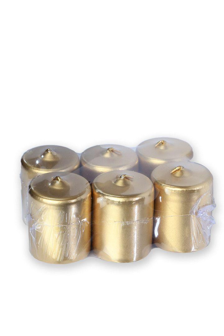 Vela 5 cm x 5 cm Dourada ( 6 unidades)