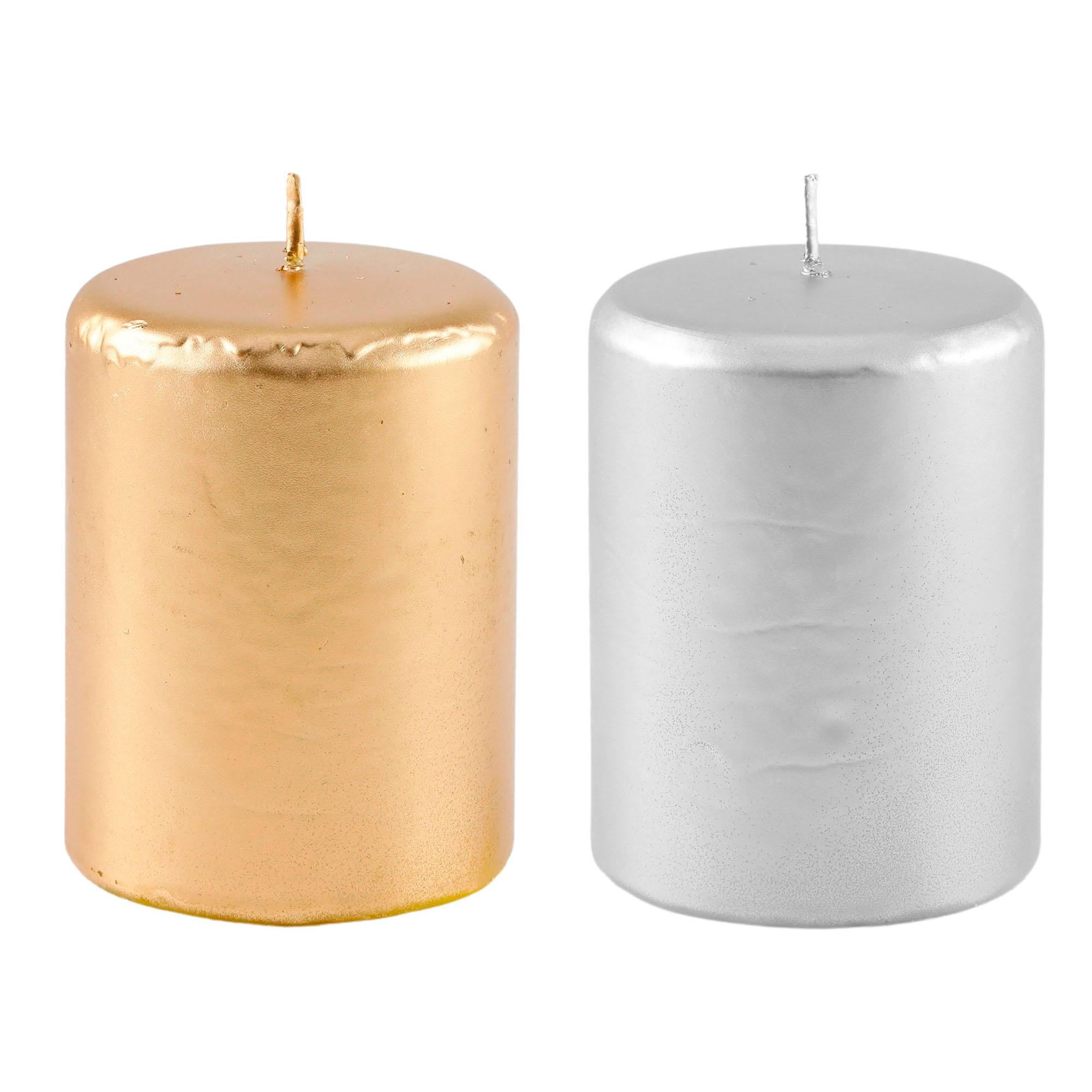 Vela cilíndrica Dourada ou Prateada 8cm x10 cm