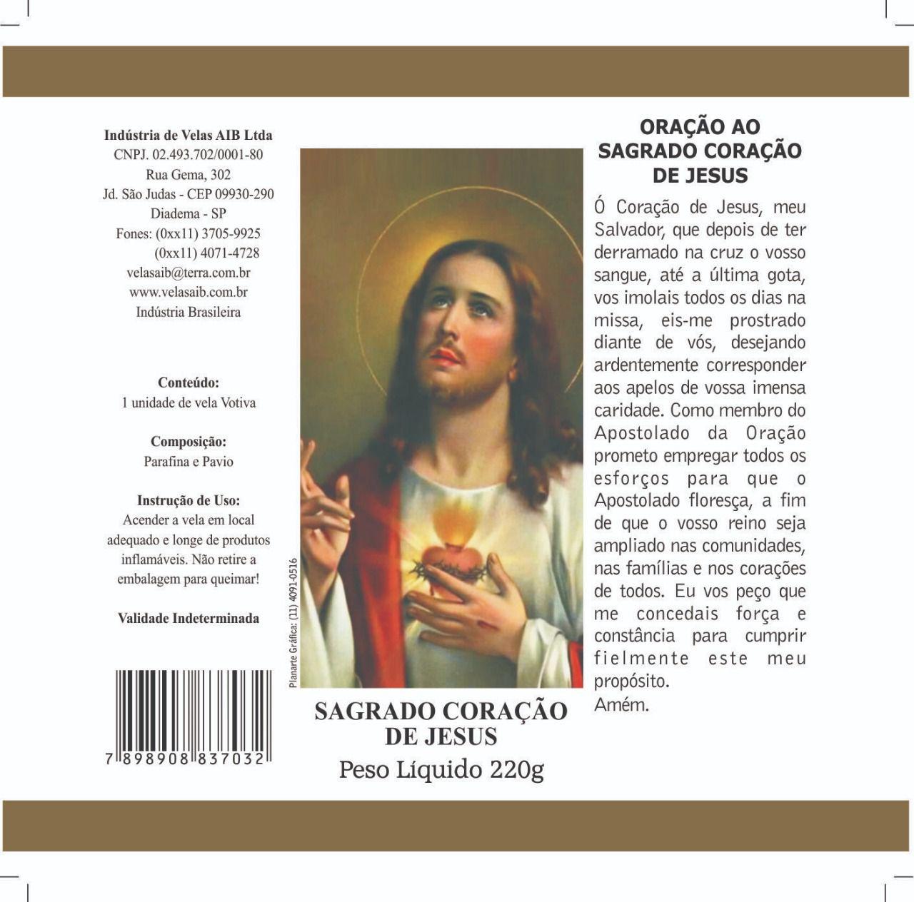 Vela Votiva Sagrado coração de Jesus ( 7 dias)