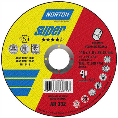 Disco de Corte AR-332 para Inox 114,3x3,2x22,2mm 2 Telas