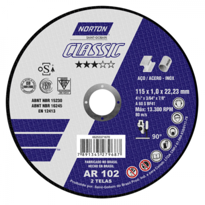 Disco De Corte Para Aço Carbono 115 X 1 X 22 mm - AR102