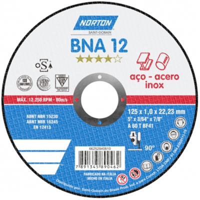 Disco De Corte Para Inox 115 X 1,0 X 22,23 mm - BNA12