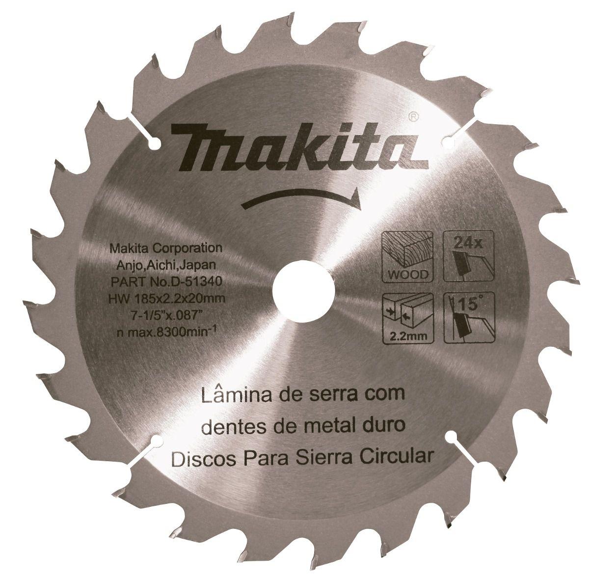 Disco De Serra Metal Duro 185 X 20 mm Para Madeira 24 Dentes