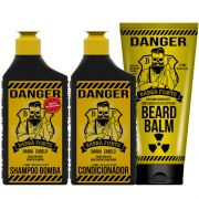 Combo Danger Shampoo + Condicionador e Balm Barba Forte (3 Produtos)