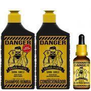 Combo Danger Shampoo + Condicionador + Óleo Barba Forte (3 Produtos)