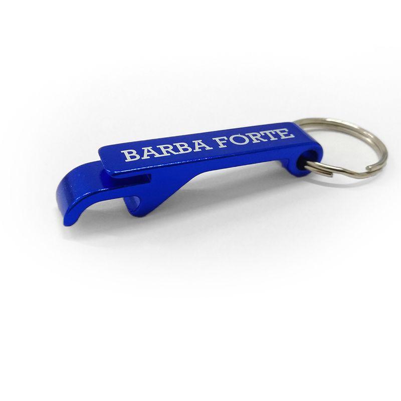 Chaveiro Metal Abridor de Garrafas Azul Barba Forte